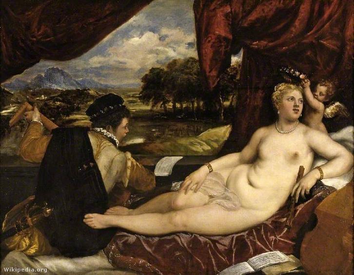 Tiziano: Vénusz és a lantos. Plusz Cupido, megy egy furulya