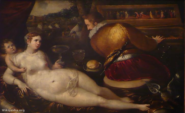 Vénusz és a csembalón játszó Mars Gillis Coignet képén