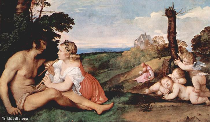 Furulyák Tiziano A férfi három kora című képén. (Jobbra elől gyerekkor, balra a felnőttkor, középen hátul az öregkor.)