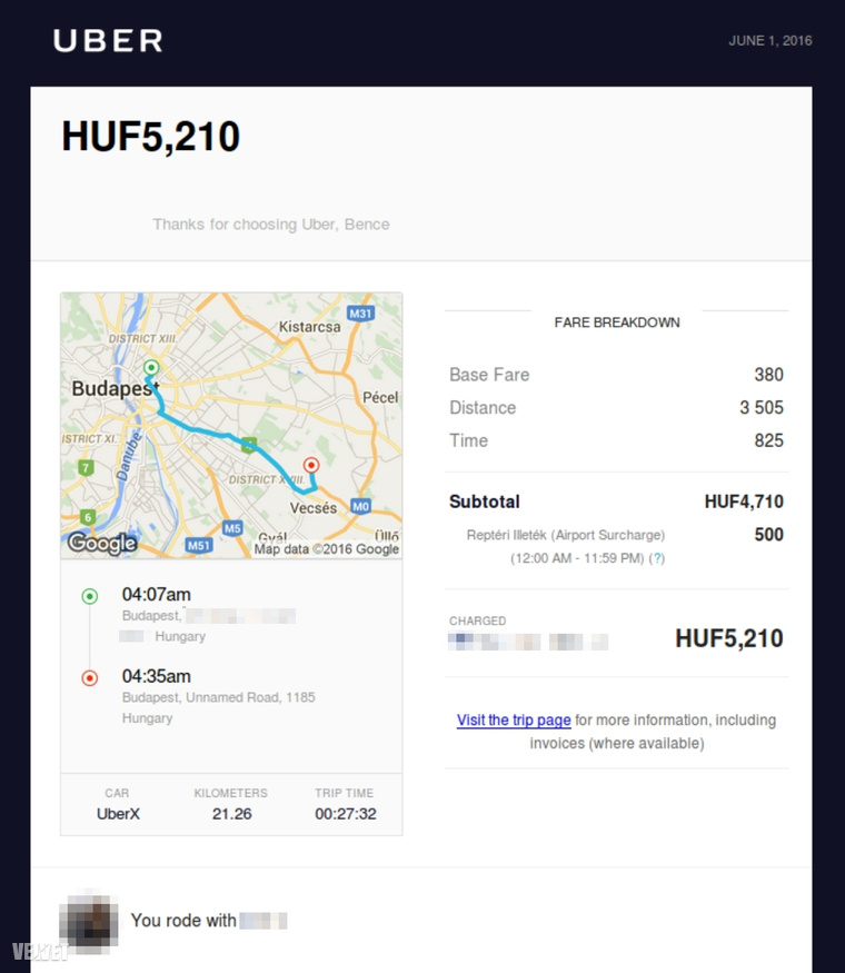 Uber számla