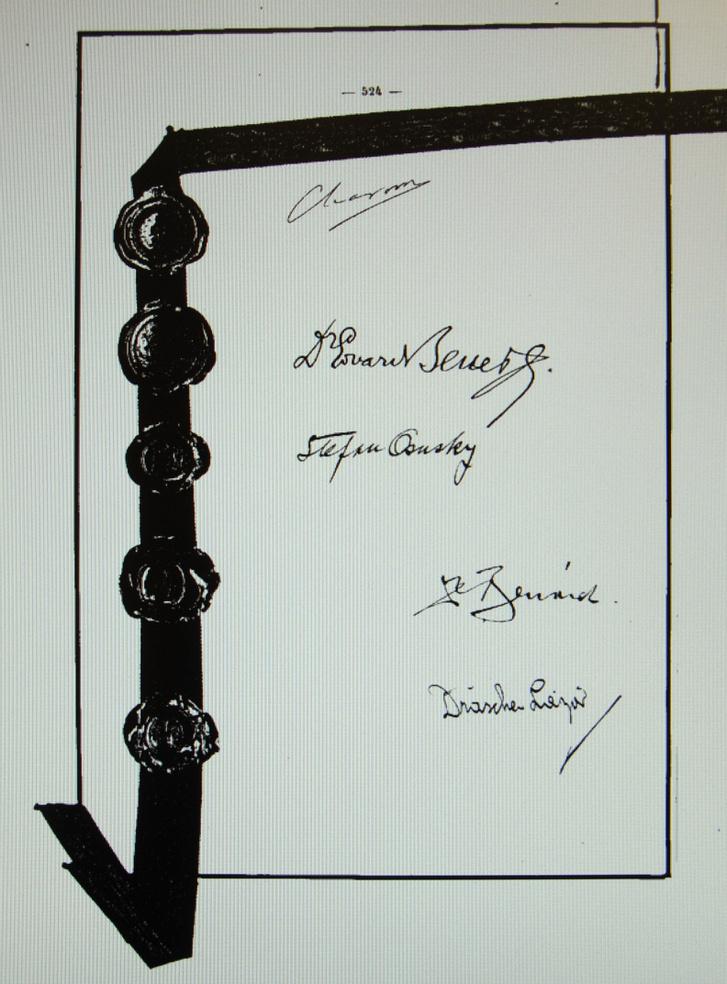 A trianoni békeszerződés utolsó oldala az aláírásokkal.