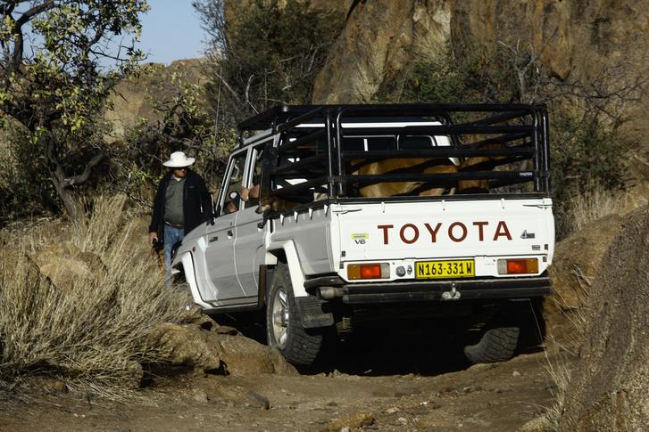 Aha, gumitépés! Ezt a fajta Landcruser pickupot még gyártják ma is Dél-Afrikában