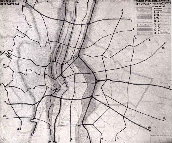 Acsay László és Masirevich György 1945-ös keltezésű, parcellákra, szalagokra felosztott városrendezési terve