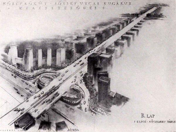 A budapesti Középkörút és a Rákóczi térből nyíló József sugárút terve 1945-ből. Terv Münnich Aladár