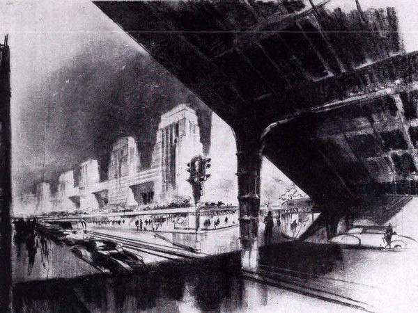 A süllyesztett, toronyházakkal szegélyezett budapesti Középkörút az Operaház magasságában. (Terv Münnich Aladár)