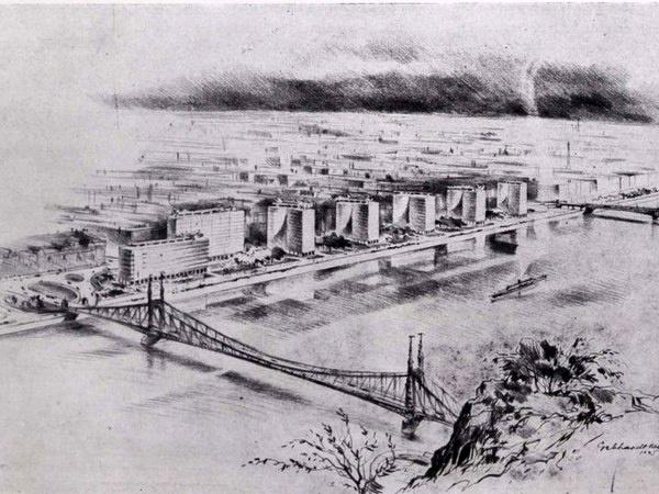 Modern toronyház-tervek a Duna budai és pesti oldalán 1945-ből (Terv Gebhardt Béla)