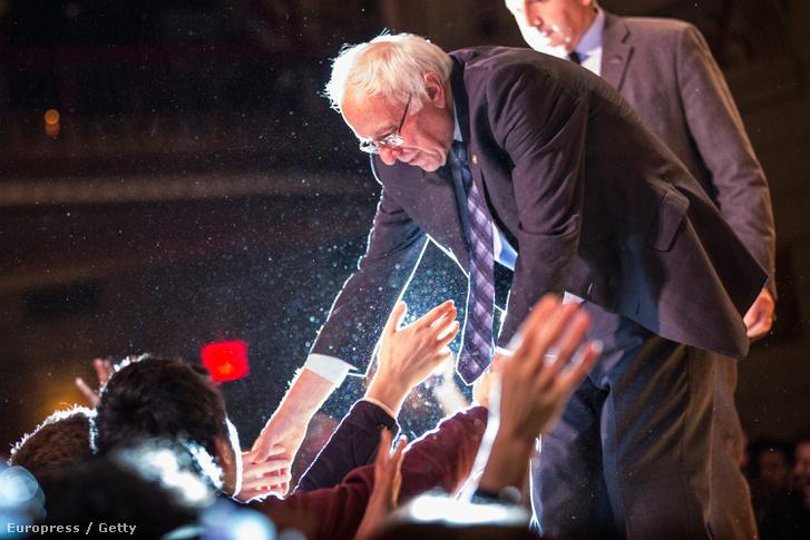 Bernie Sanders egyik kampányrendezvényén.