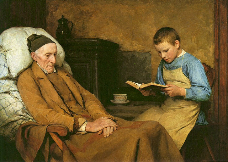 Albert Anker 1831 - 1910 Realism Painting die-andacht-des-grossv