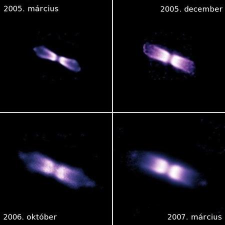 A V445 Puppis 2000 novemberében bekövetkezett nóvakitörése közben ledobott anyag tágulása jól nyomon követhető az ESO VLT távcsőrendszerén üzemelő NACO adaptív optikás infravörös képalkotó rendszerrel 2005 márciusa és 2007 márciusa között készített felvételek alapján. Az észlelések elemzése alapján a V445 Puppis jó eséllyel válhat a jövőben Ia típusú szupernóvává. [ESO/P.A. Woudt]