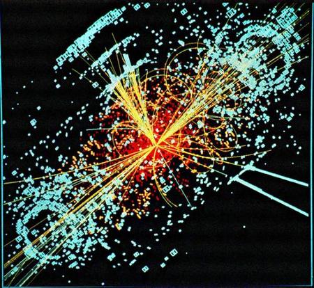 Szimuláció a Higgs-bozonról: ilyen képet kaphatnak a CMS detektornál dolgozók, ha a bozon felbukkan