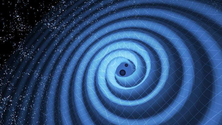Az észlelt feketelyuk-kettős gravitációshullám-kibocsátásának művészi ábrázolása.