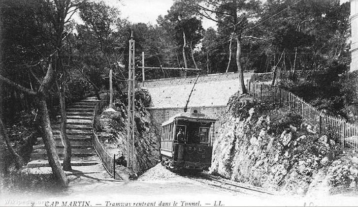 Villamos Menton és Monte-Carlo között - századfordulós képeslap