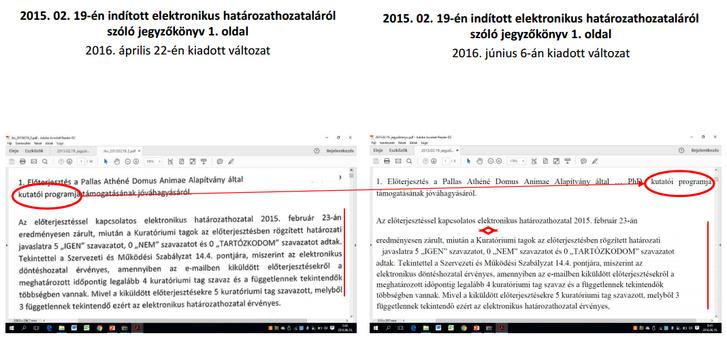 Pallas Athéné Domus Animae Alapítvány által, dr. Tóth Bertalan részére kiadott közérdekű adatok eltérései1.,2015. 02. 19-én indított elektronikus határozathozataláról szóló jegyzőkönyv