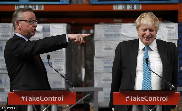 A kilépés legfontosabb arcai: Michael Gove igazságügyi miniszterés a leköszönő londoni polgármester, Boris Johnson