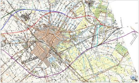 A békéscsabai nyomvonaltervek, forrás: roads.extra.hu