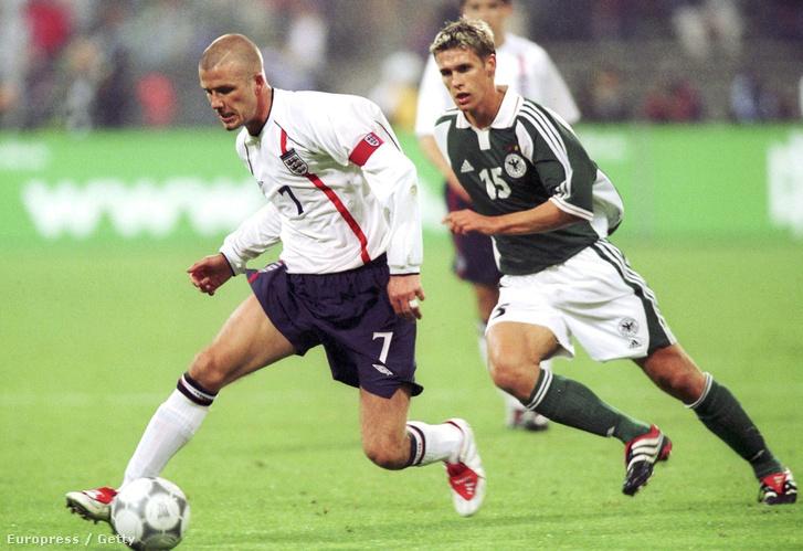 David Beckham 2001-ben a német válogatott elleni mérkőzésen