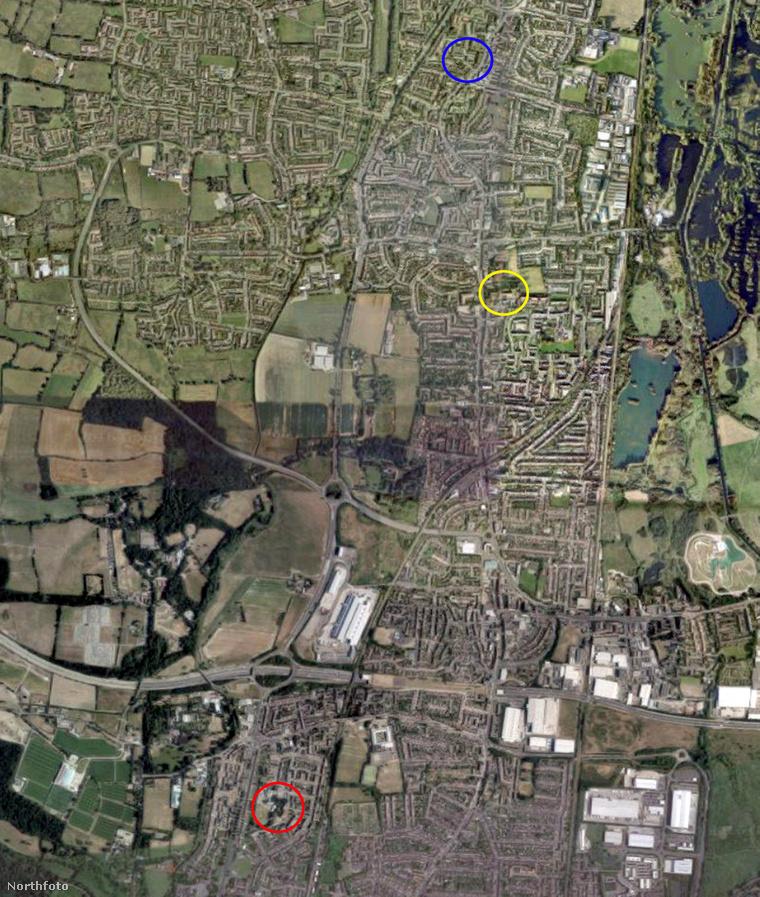 Térkép: a vörös kör az autólopás helyszínét, a sárga a házaspár házát, a kék pedig a kocsi megtalálásának a helyét jelöli
