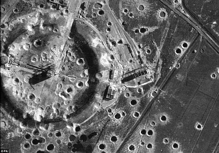 Peenemünde, a német rakétafejlesztés központja 1944-ben, bombázás után