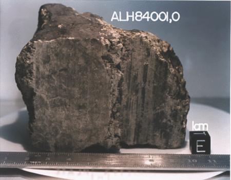 Az Allen Hills 84001 meteorit a NASA fotóján