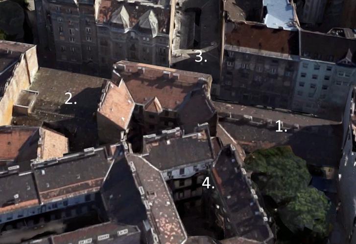 A három bontandó ház: az egykori Super8 (1.), a Vasas Művészegyüttes székháza (2.), valamint a Bródy és a Kőfaragó utcát összekötő épület (3.). Jól látszik, hogy mennyivel kisebb a léptékük a környék többi, szintén legfeljebb 100 éves házához képest. A kép közepén levő minden oldalról zárt gangos udvar (4.) pl. a Somogyi Béla utca 17. számú házhoz tartozik – ami egyszerűen csak azért alakult így, mert 2-300 évvel ezelőtt így sikerült felosztani a telkeket.