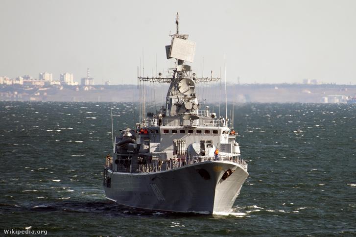 Az ukrán flotta zászlóshajója, a Hetman Szahajdacsnij fregatt