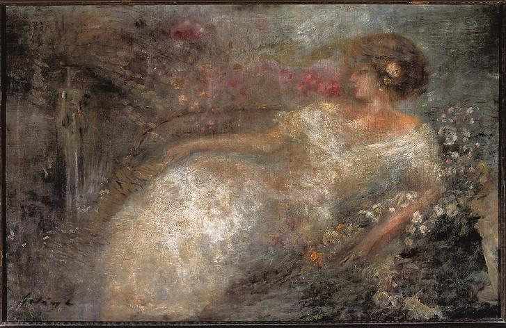 Gulácsy Lajos: Kereveten fekvő nő (Magántulajdon)