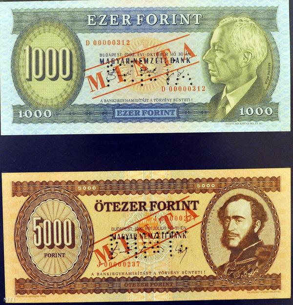 Az ezerforintos Bartók Béla és az ötezer forintos bankjegy Gróf Széchenyi István portréjával
