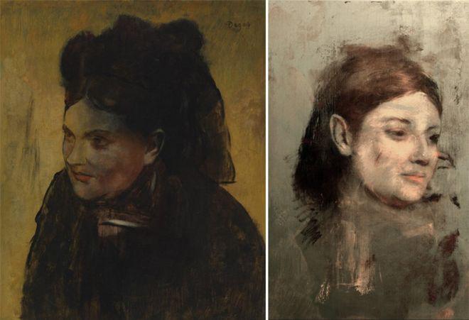 Balra a Női portré, jobbra az alatta lévő újraalkotva