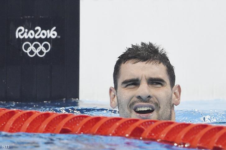 Kis Gergõ a 2016-os riói nyári olimpia 400 méteres gyorsúszás versenyszámának elõfutama után