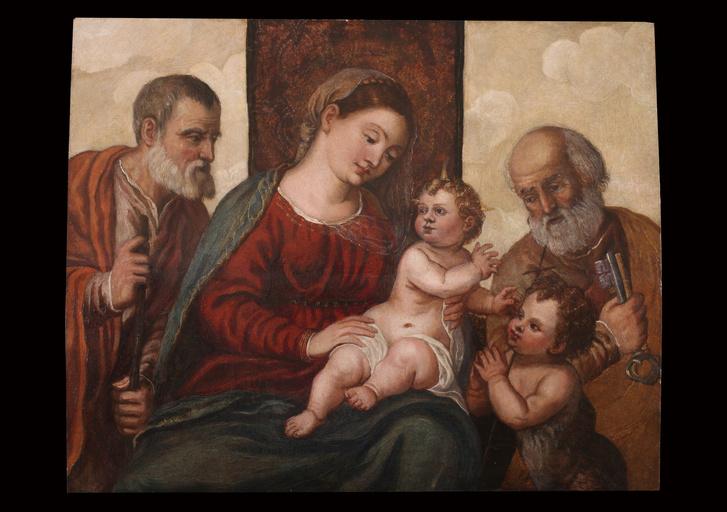 Erdős Alexandra restaurálta az Észak-itáliai mester művéta 16.század közepéről. A címe: Szent család a kis keresztelő Szent Szent Jánossal és Szent Péterrel
