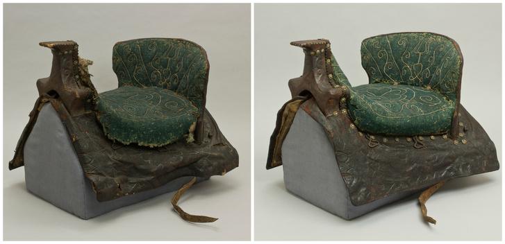 18. századi női nyereg restaurálás előtt és után. A Magyar Nemzeti Múzeum gyűjteményének tulajdona