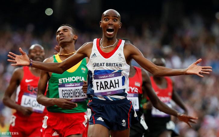 Mo Farah a londoni olimpia 5000 méteres férfi síkfutás döntőjének befutóján