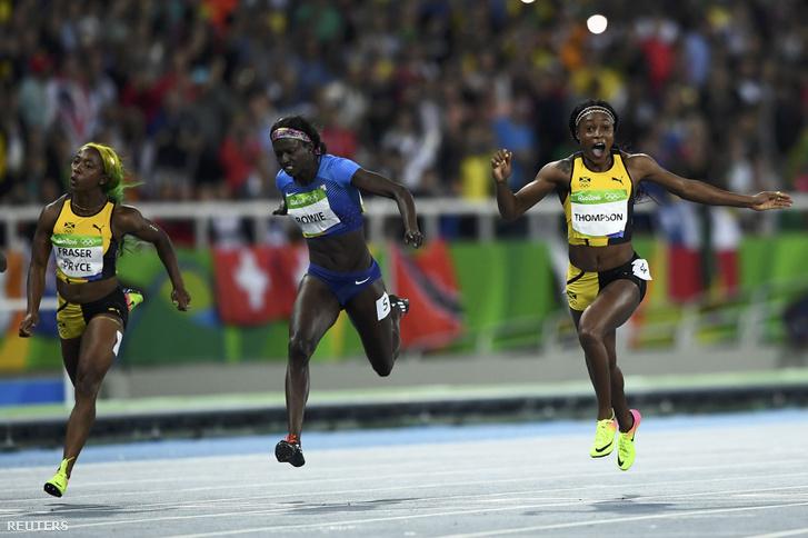 A jamaicai Elaine Thompson nyeri a százméteres női síkfutás döntőjét az amerikai Tori Bowie és a címvédő Shelly-Ann Fraser-Pryce előtt