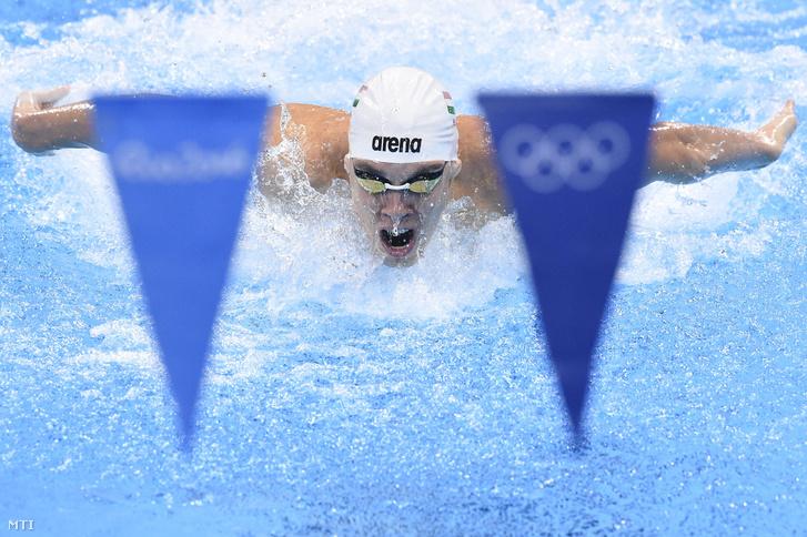 Pulai Bence a riói nyári olimpia férfi 4x100 méteres vegyesváltó versenyszámának elõfutamában a Rio de Janeiró-i Olimpiai Uszodában 2016. augusztus 12-én.