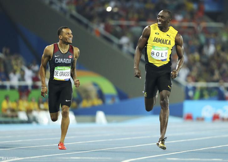 De Grasse és Bolt a célban