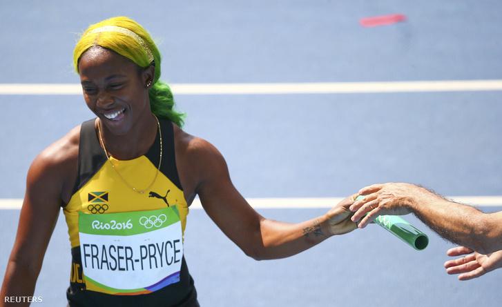 Shelly-Ann Fraser-Pryce Rióban, a 4 x 100 méteres váltója után, 2016. augusztus 18-án.
