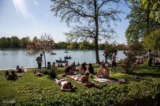 Piknikezők a madridi Retiro parkban