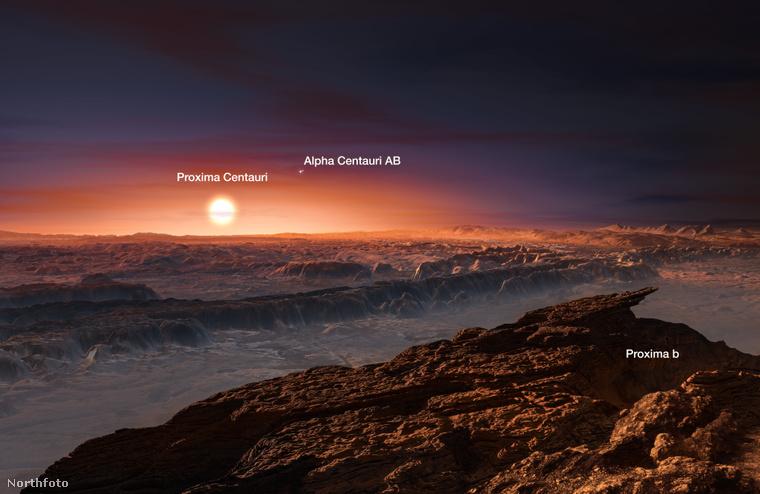 A déli égbolton látható Proxima Centauri 4,24 fényévnyi – 40 billió kilométeres – távolságával a Nap legközelebbi csillagszomszédja.