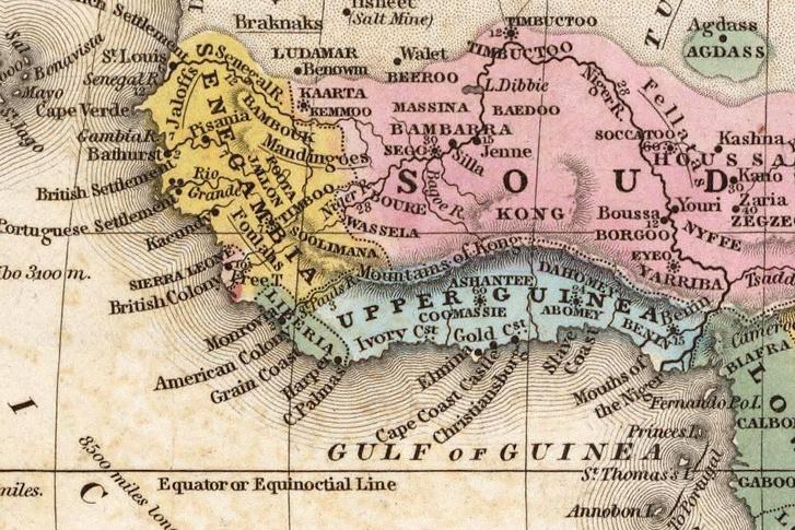 A nem létező Kong-hegység egy Nyugat-Afrikát ábrázoló térképen.