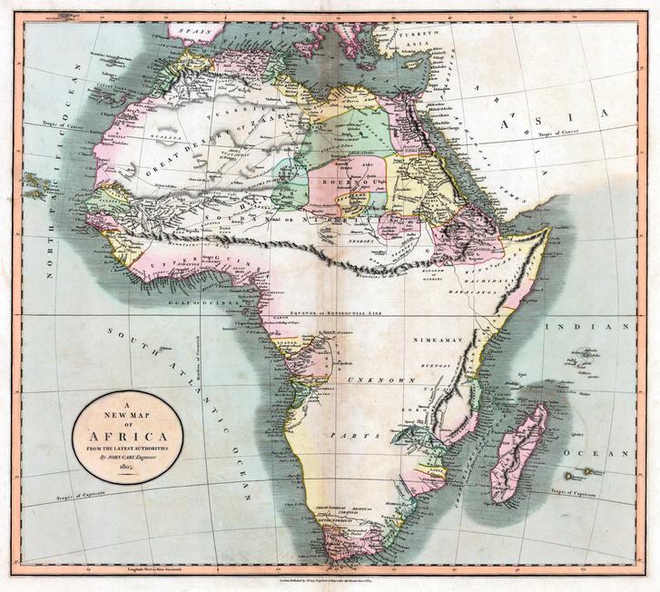 Egy Afrika térkép a képzeletbeli Kong- és Moon-hegységrendszerrel