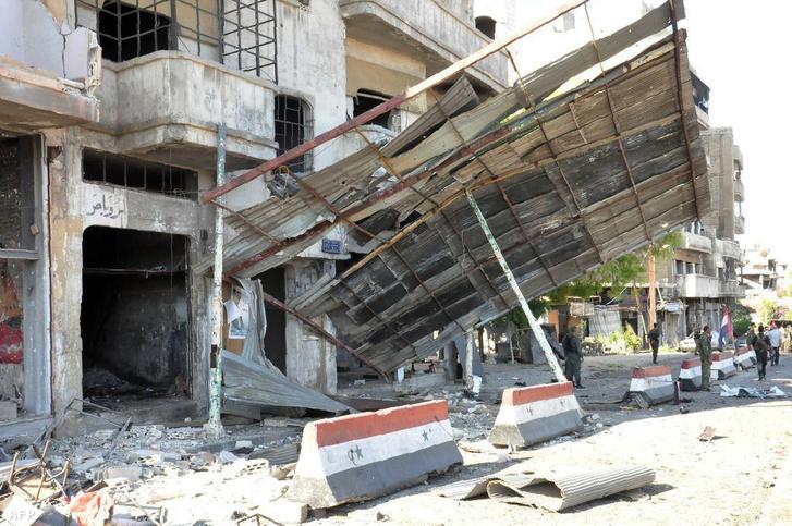 A robbantás helyszíne Homszban