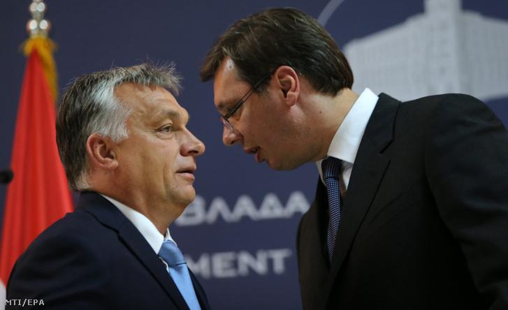 Orbán Viktor miniszterelnököt fogadja Aleksandar Vucic szerb kormányfő Belgrádban