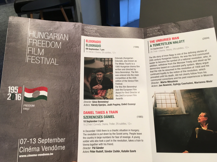 """A """"Magyar Filmek a Szabadságról Filmfesztivál"""" programfüzete."""