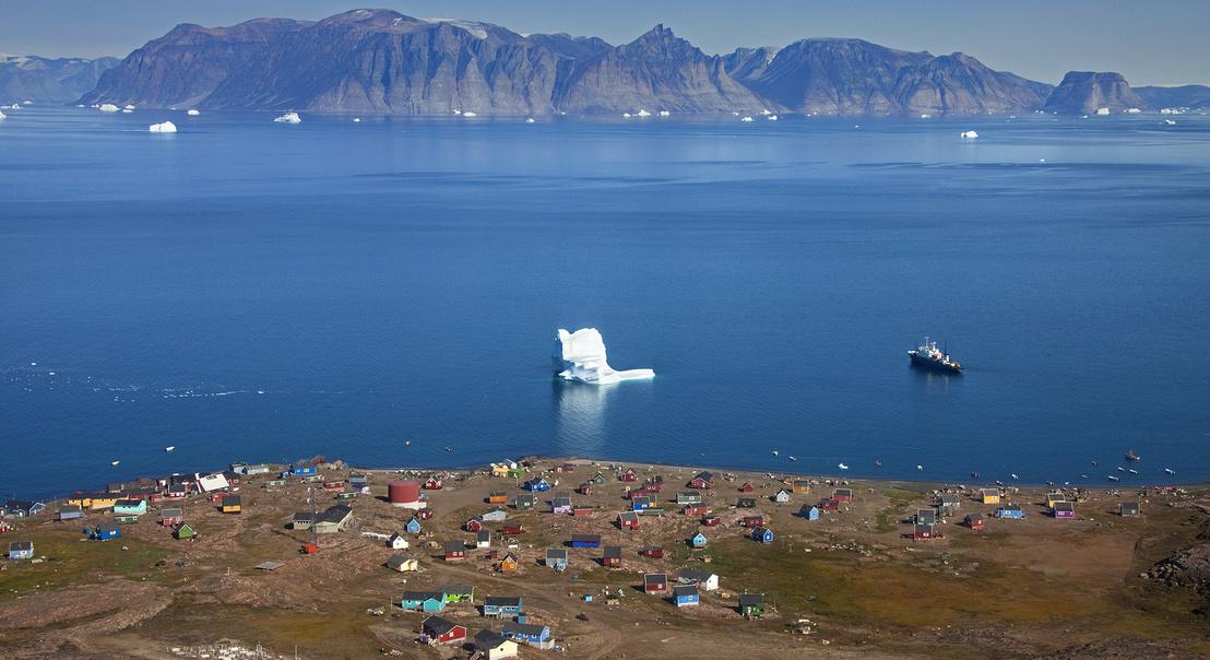 Grönlandi halászfalu látképe