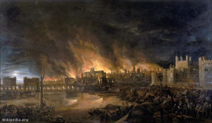 A nagy londoni tűzvész részlete ismeretlen festőtől. A kép valószínűleg a tűz kedd esti (szeptember 4.) állapotát mutatja a Temze felől. Jobbra a londoni Tower látható, balra pedig a London Bridge. A távolban a legnagyobb lángok gyűrűjében áll a Szent Pál-katedrális.