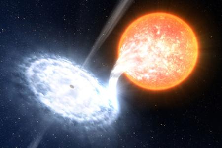 Fantáziakép a társcsillagától anyagot elszívó törpecsillagról