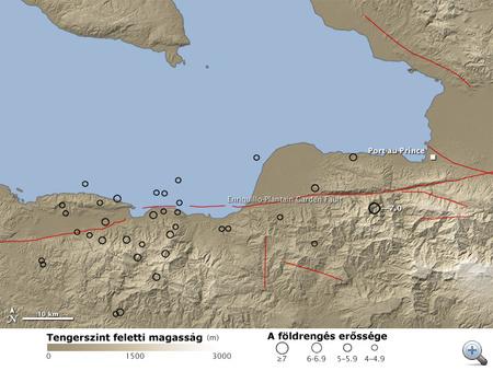A NASA illusztrációja a Haitit sújtó földrengésekről (a piros vonalak a törésvonalakat jelzik, a kis körök a rengések erősségét mutatják)