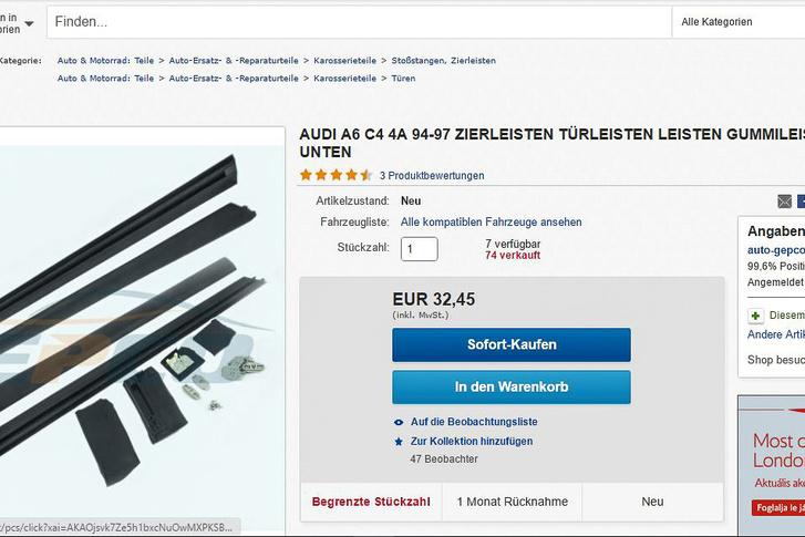 30 euró körüli összegért kínálnak új, de utángyártott gumicsík-garnitúrát az eBay-en. Rendelek egyet én is