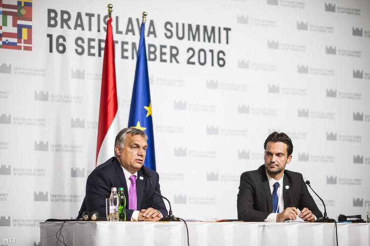Orbán Viktor a pozsonyi EU-csúcs után.