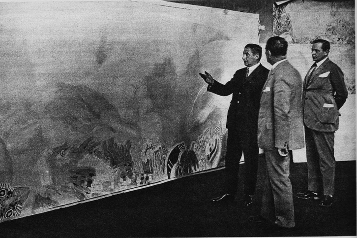 Klebelsberg Kunó kultuszminiszter Vaszary János festőművész műtermében átveszi a tihanyi biológiai intézet számára készült festményt, 1928